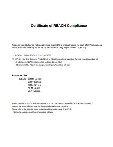 certificate of reach compliance