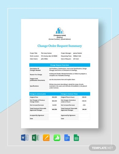 change-order-request-summary-template