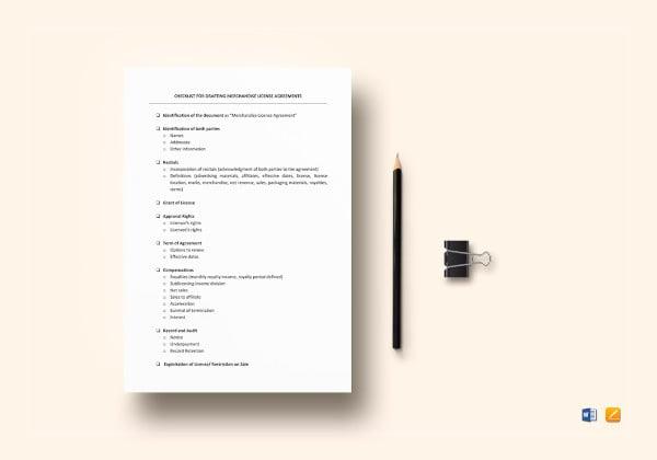 checklist-drafting-merchandising-license-agreements-template