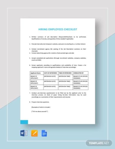 checklist hiring employees template1