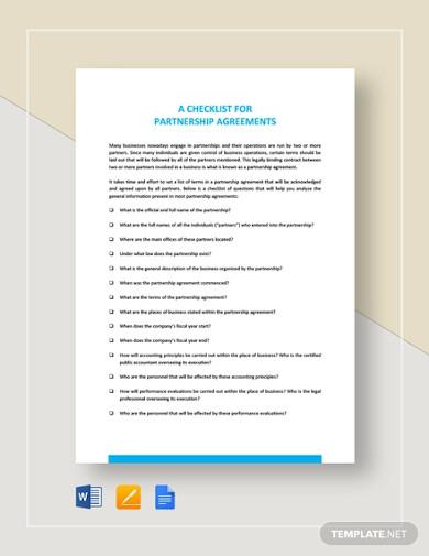 checklist partnership agreement template