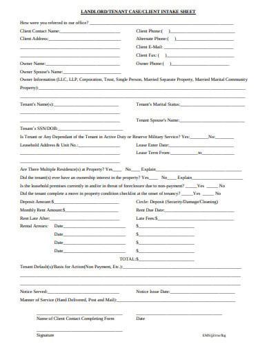 client intake sheet template