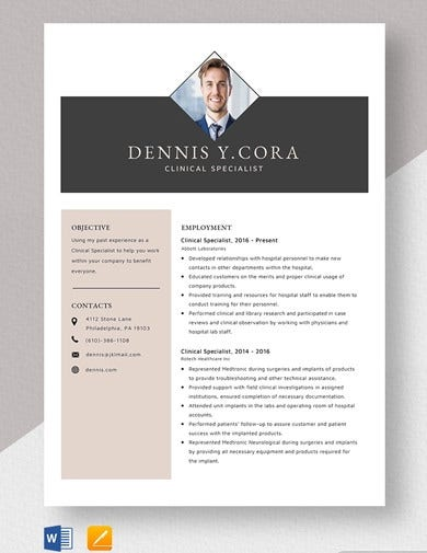 clinical-specialist-resume-template