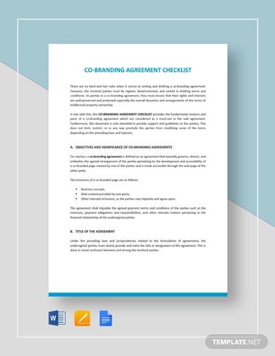co branding agreement checklist template