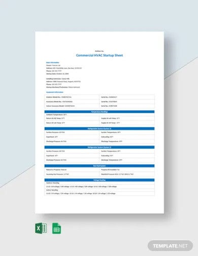 commercial hvac startup sheet template