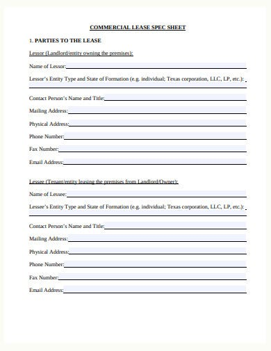 commercial lease spec sheet
