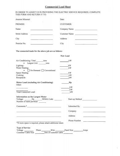 commercial load sheet