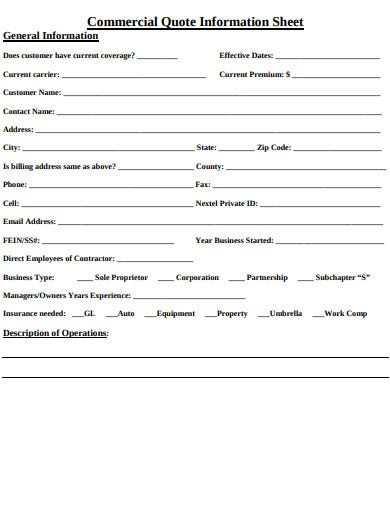 commercial quote information sheet