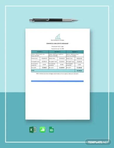 commercial real estate worksheet template