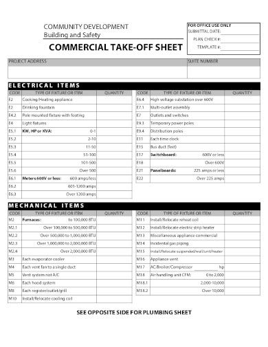 commercial take off sheet example