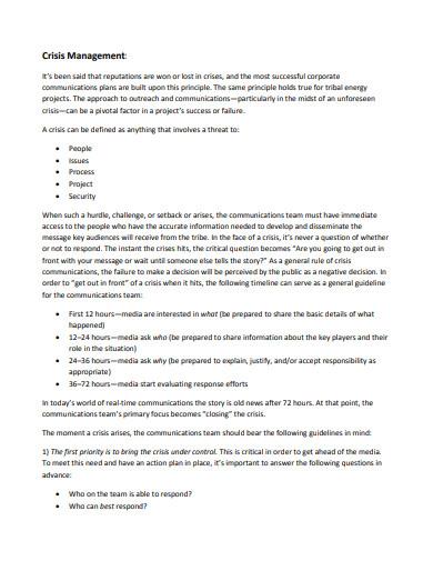 communication crisis management plan