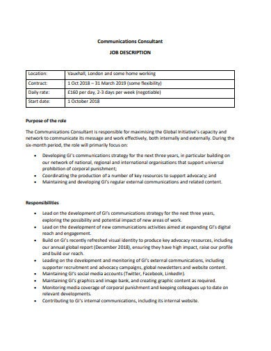 communications consultant job description