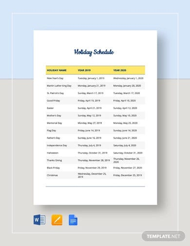 company holiday schedule template