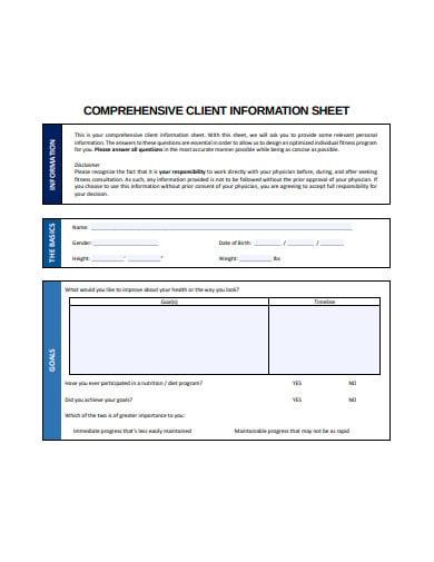 comprehensive client information sheet template