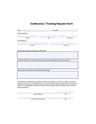 conference training request form template