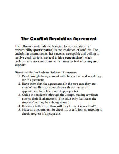 15  resolution agreement templates