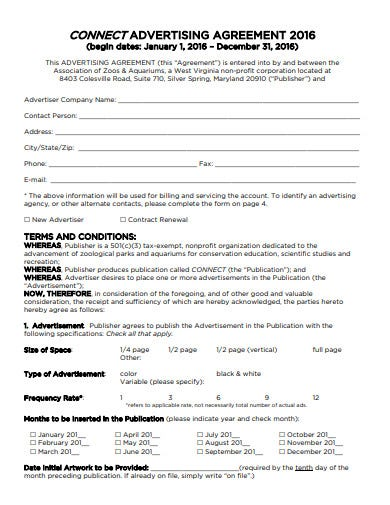 connect advertising agreement template