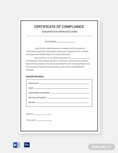 conservation compliance certificate template