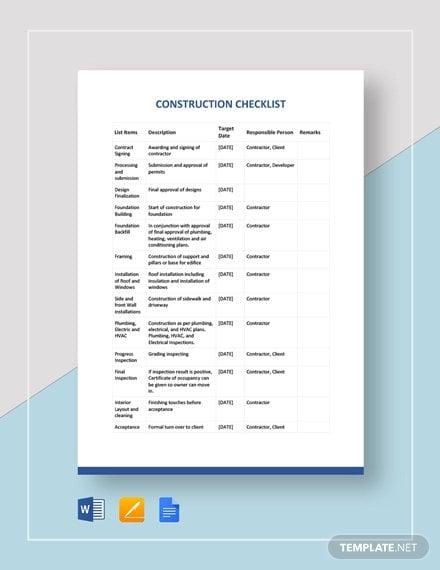 construction checklist template