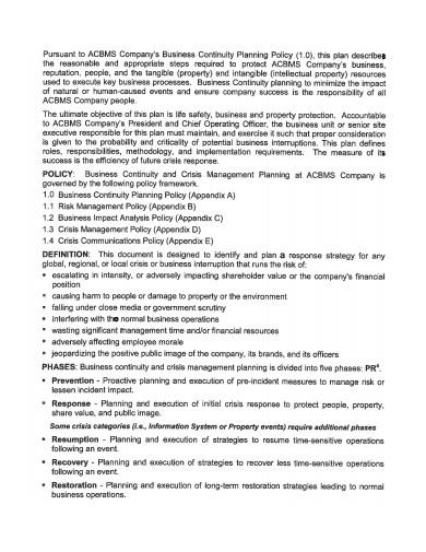 continuity crisis management plan template