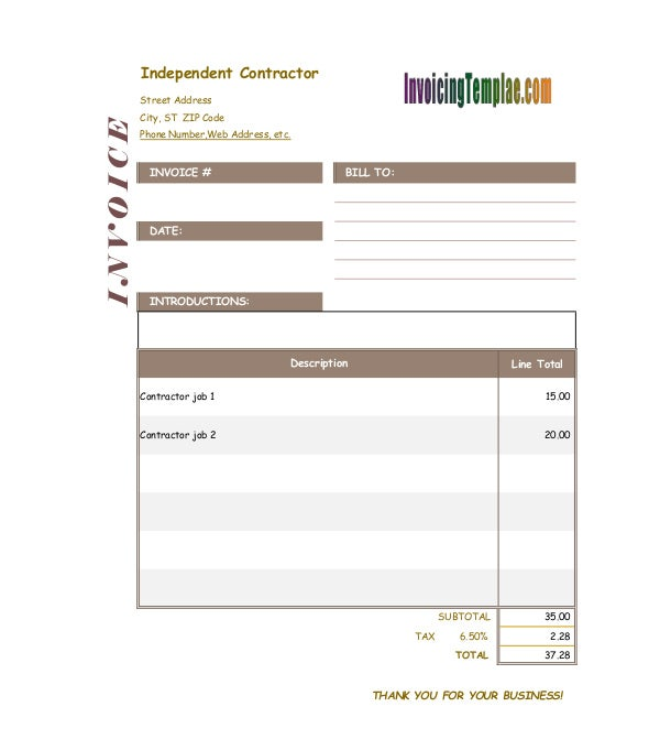 contract work invoice template download