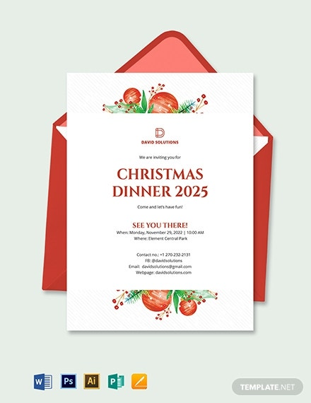 corporate christmas dinner invitation template 2