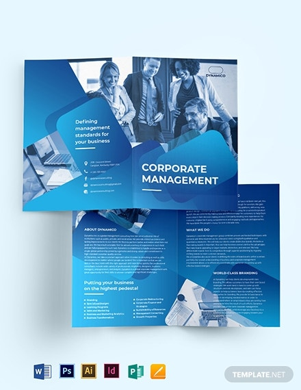 corporate management bi fold brochure template
