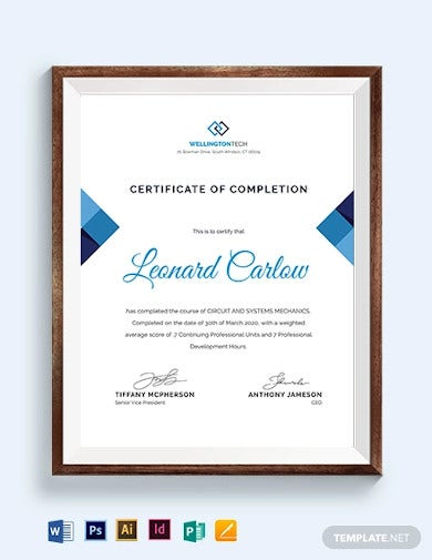 course certificate template1