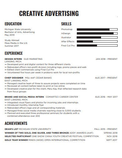 5 Advertising Resume Templates In Word Pages Pdf