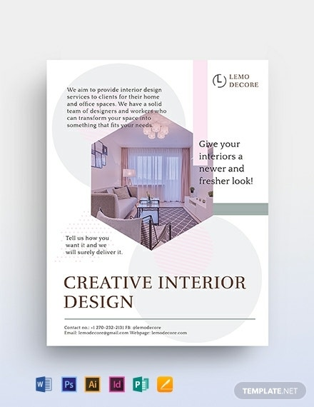 creative interior design flyer template 440x570 11