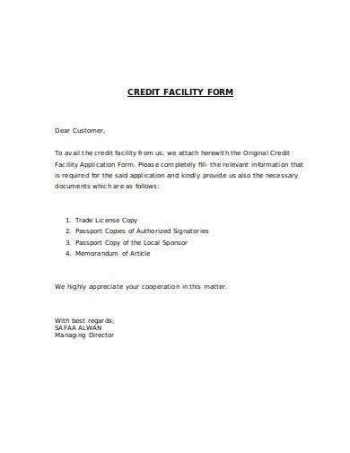 credit facility form template