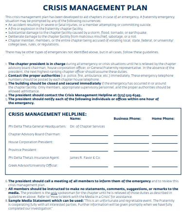crisis management plan format