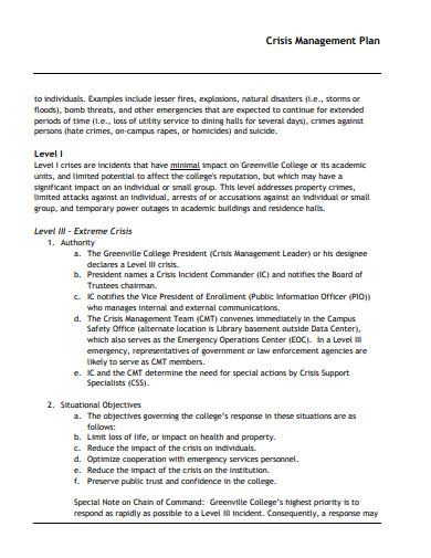 crisis management plan in pdf