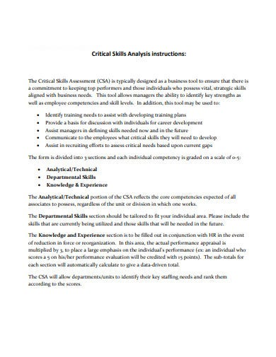 critical skills analysis example