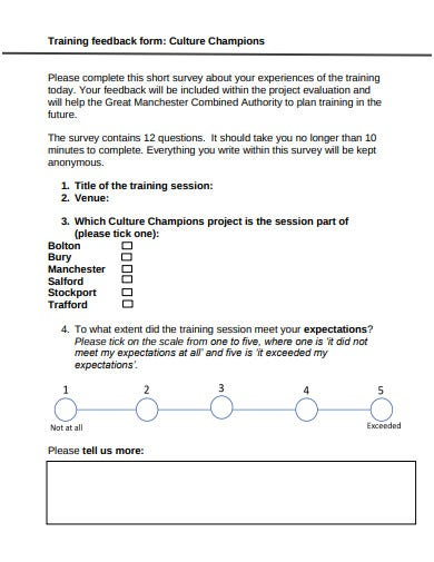culture training feedback form