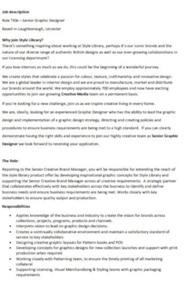 customizable graphic designer job description template