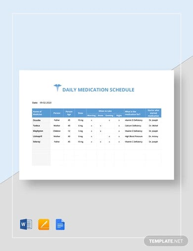 daily medication schedule template1