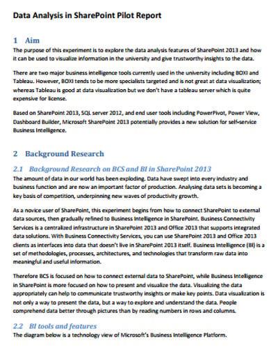 data analysis report sample