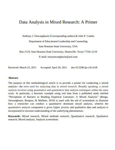 data analysis in mixed research template