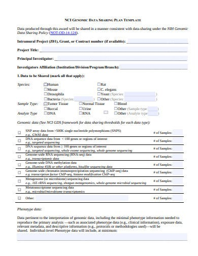 data sharing plan template