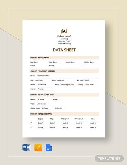 data sheet template