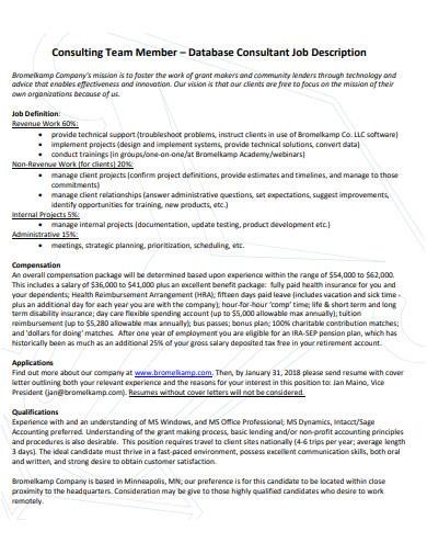 database consultant job description