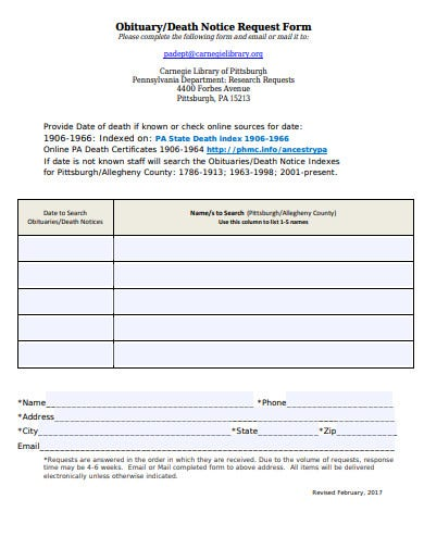 death-notice-request-form-template