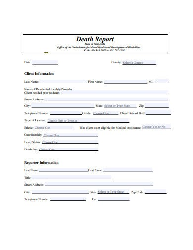 death report form example