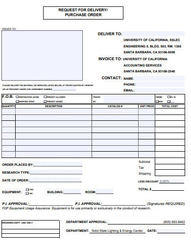 delivery purchase order form template