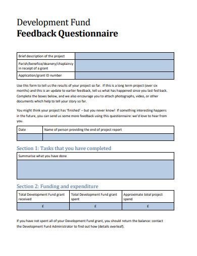 development fund feedback questionnaire template