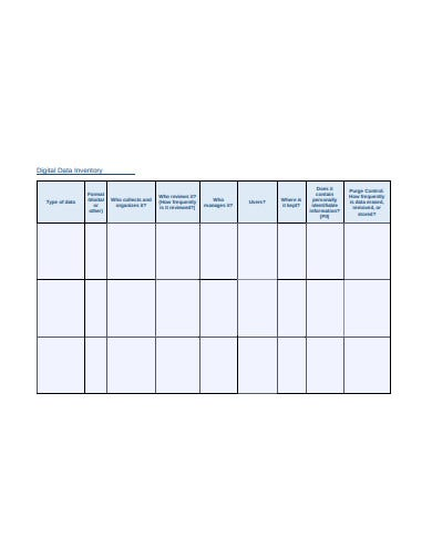 digital data inventory template