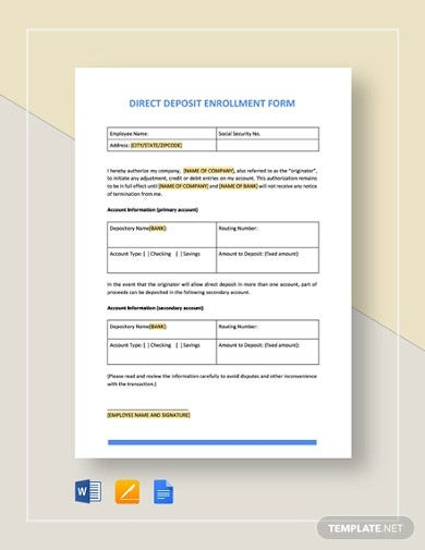 direct-deposit-enrollment-form-template