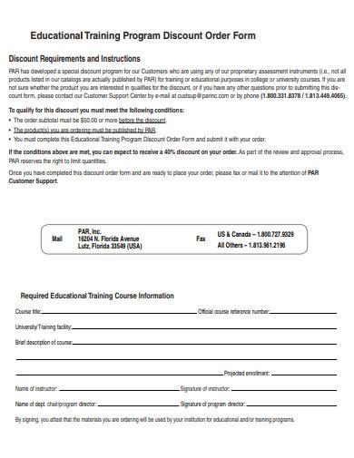 discount order form training program