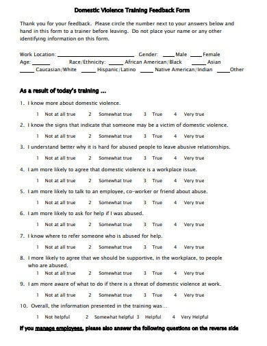 domestic violence training feedback form